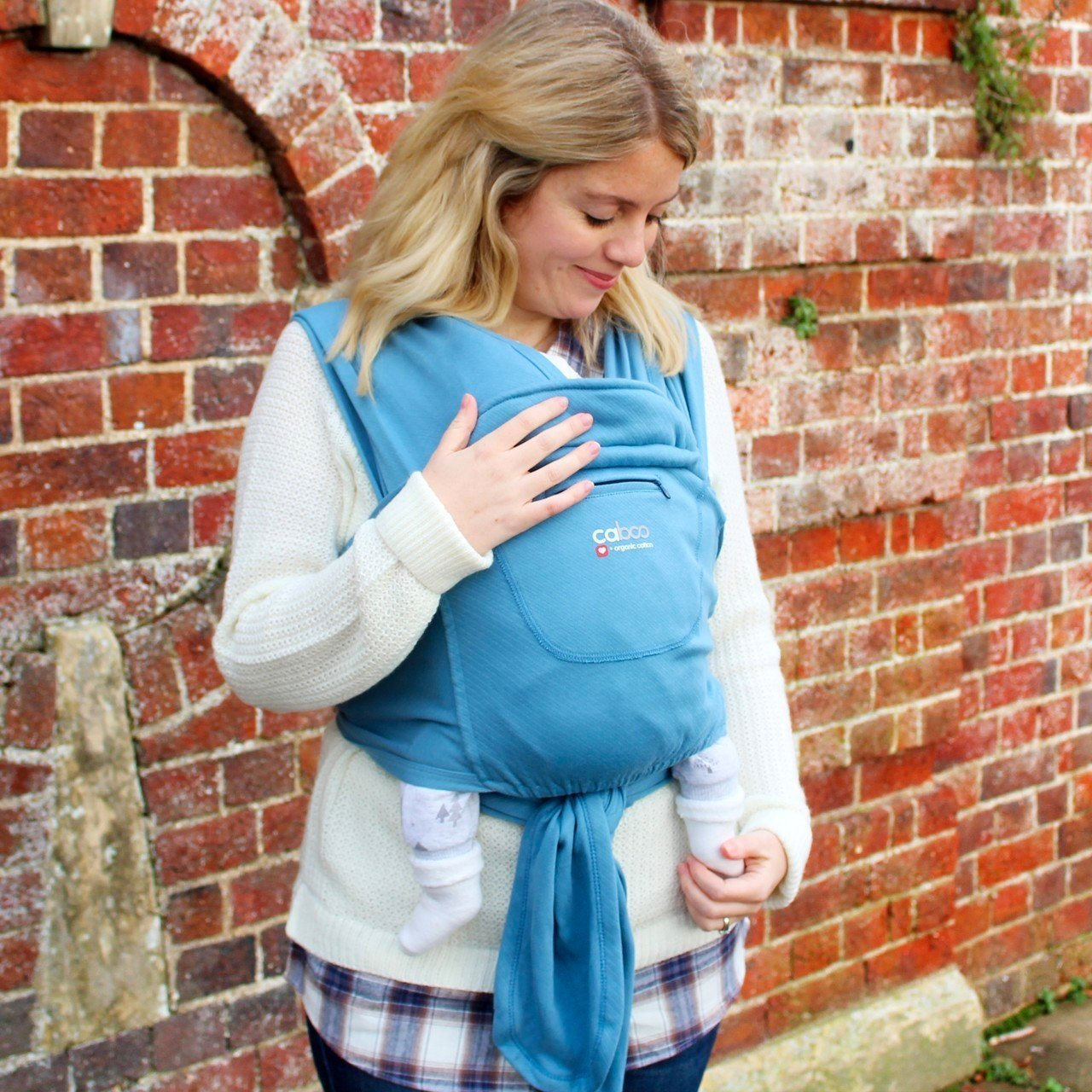 Close Caboo Organic Cotton Stretchy Baby Carrier Close Parent Baby Carriers Baltic Blue at Little Earth Nest Eco Shop