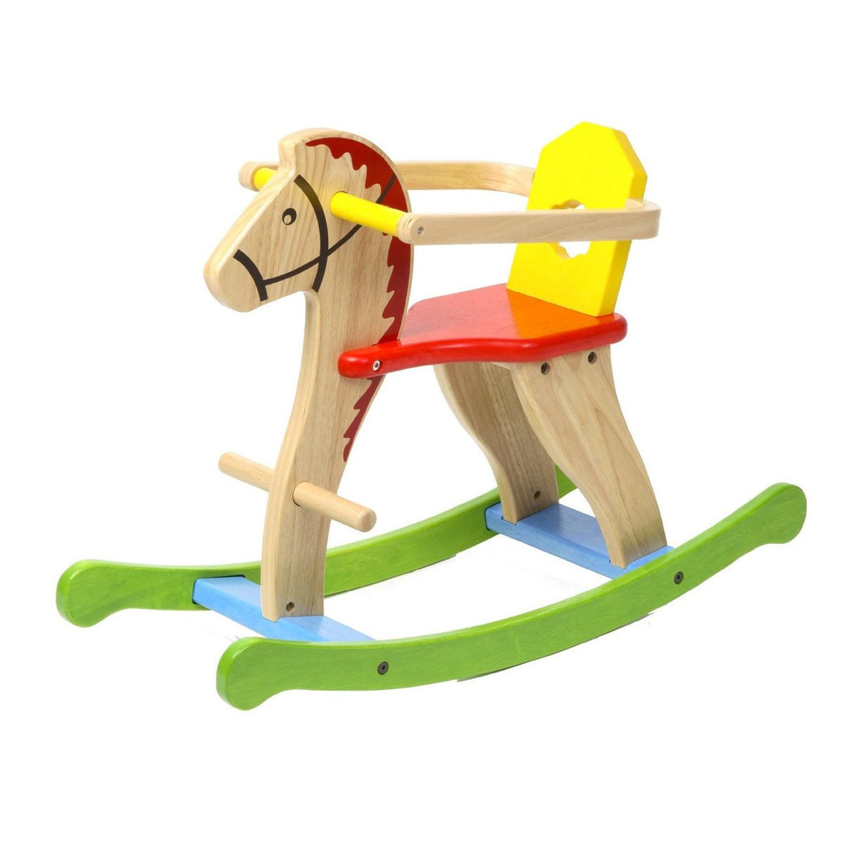 Classic Wooden Rocking Horse with Removable Guard Colourful Little Earth Nest Rocking Horses at Little Earth Nest Eco Shop