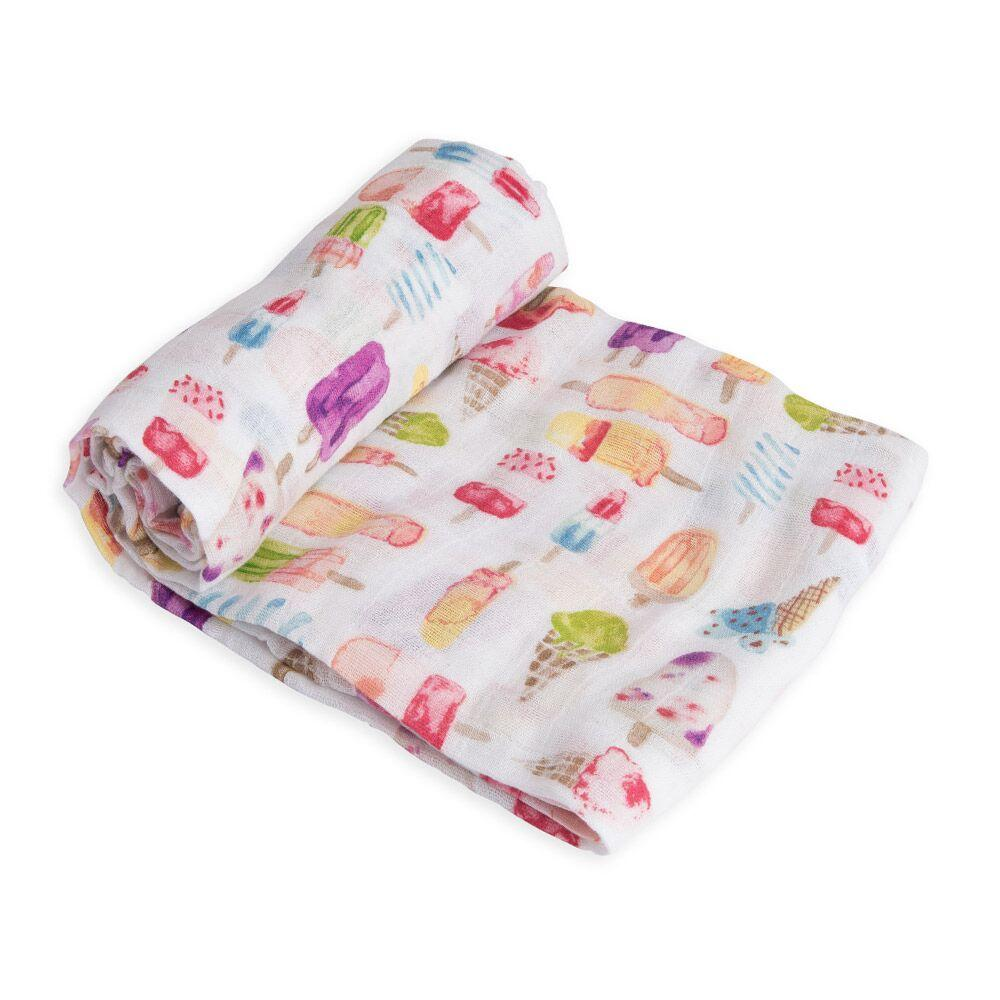 Cotton Muslin Swaddle Little Unicorn Bath and Body Brain Freeze at Little Earth Nest Eco Shop