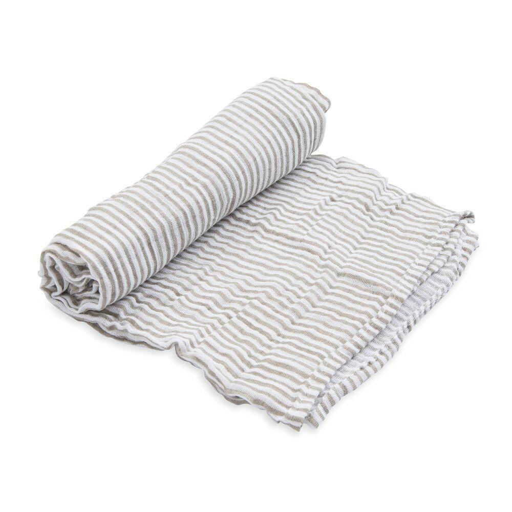 Cotton Muslin Swaddle Little Unicorn Bath and Body Grey Stripe at Little Earth Nest Eco Shop