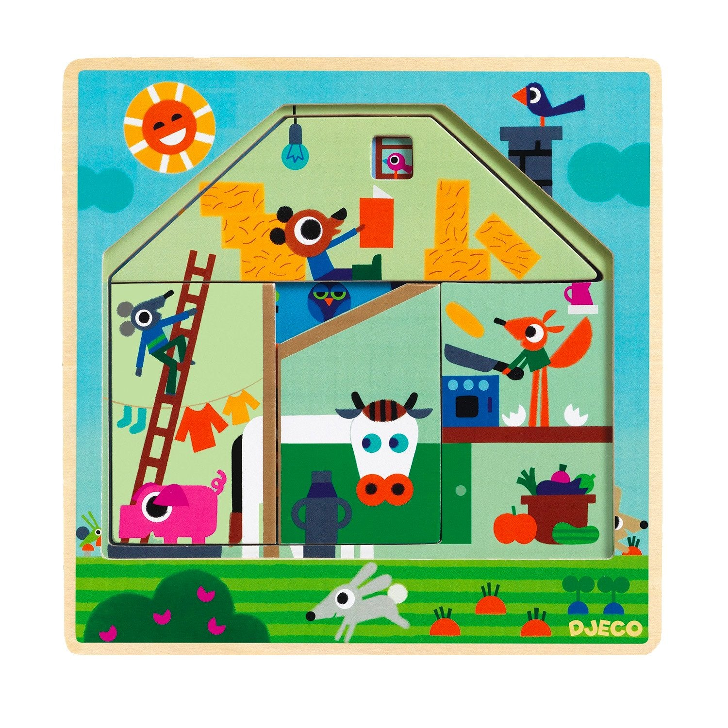 Djeco Chez Gaby Wooden 3 Layer Puzzle Djeco Puzzles at Little Earth Nest Eco Shop