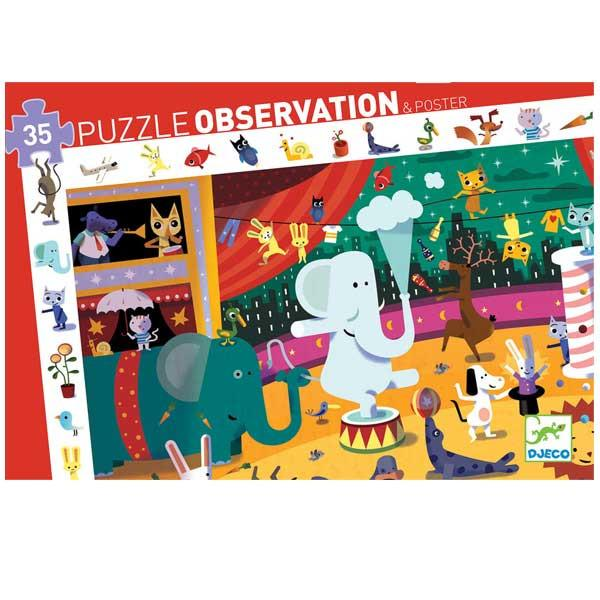 Djeco Puzzle Observation & Poster 35 Piece Circus Djeco General at Little Earth Nest Eco Shop