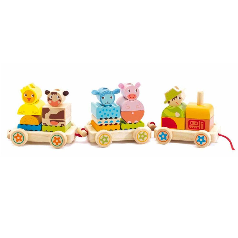 Djeco Creafarm Activity Train Djeco Activity Toys at Little Earth Nest Eco Shop