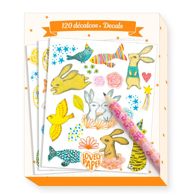 Djeco Lovely Paper Elodie Bunny Decals Djeco Art and Craft Kits at Little Earth Nest Eco Shop