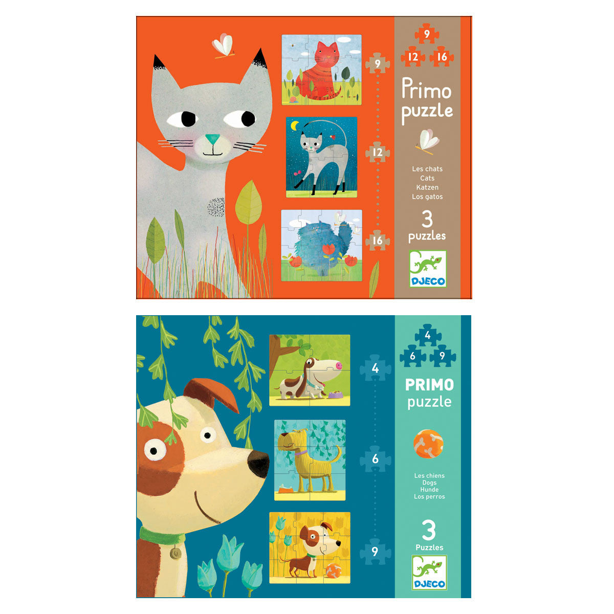 Djeco First Puzzles Primo Toddler Puzzles Set of 3 Djeco Puzzles at Little Earth Nest Eco Shop