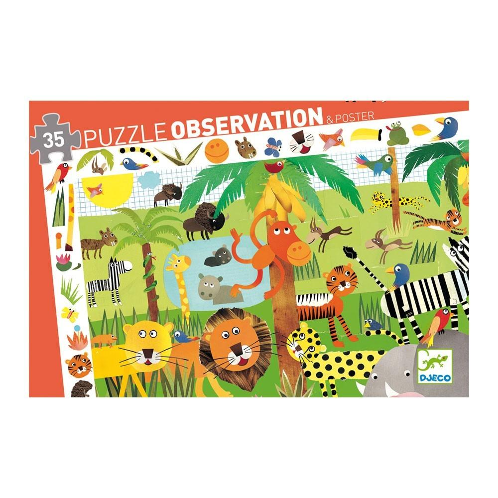Djeco Jungle Observation Puzzle 35 Piece Djeco Puzzles at Little Earth Nest Eco Shop