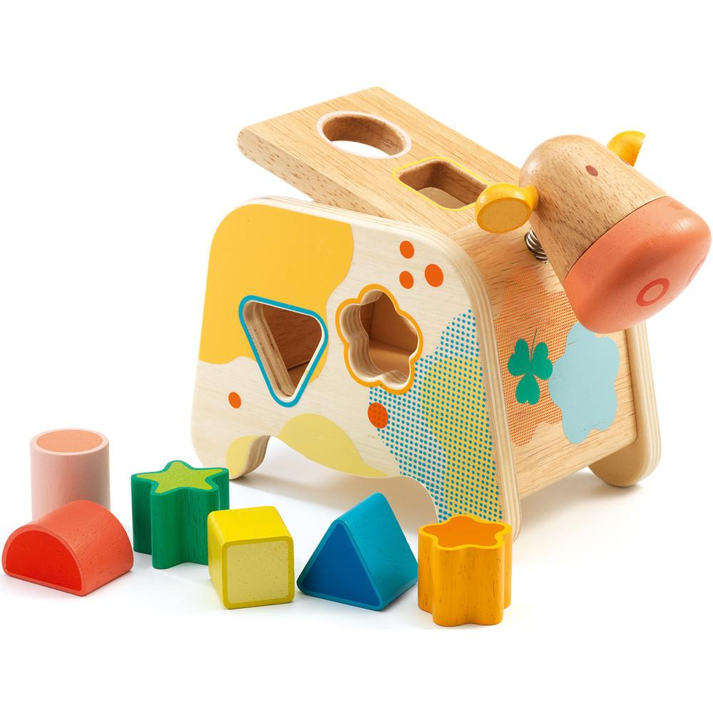 Djeco Maggie Cow Shape Sorter Djeco Sorting and Stacking Toys at Little Earth Nest Eco Shop