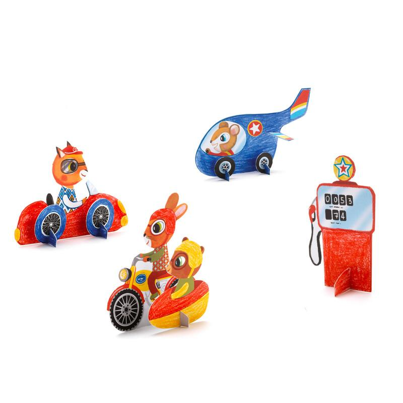 Djeco Vroom Mini Totems Colouring Set Djeco Art and Craft Kits at Little Earth Nest Eco Shop