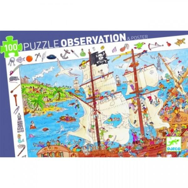 Djeco Puzzle Observation & Poster 100 Piece Pirates   - Djeco - Little Earth Nest