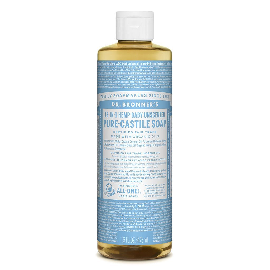 Dr Bronners Pure Castille Soap Baby Mild Dr Bronners Bath and Body 237ml 8oz at Little Earth Nest Eco Shop