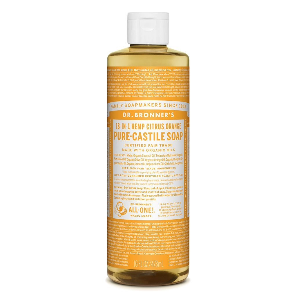 Dr Bronners Castille Soap Citrus Dr Bronners Bath and Body 473ml 16oz at Little Earth Nest Eco Shop