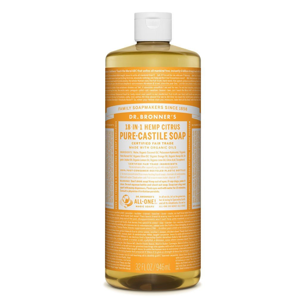 Dr Bronners Castille Soap Citrus Dr Bronners Bath and Body 946ml 32oz at Little Earth Nest Eco Shop