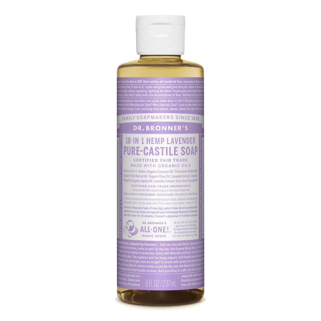Dr Bronners Castille Soap Lavender Dr Bronners Bath and Body 237ml 8oz at Little Earth Nest Eco Shop