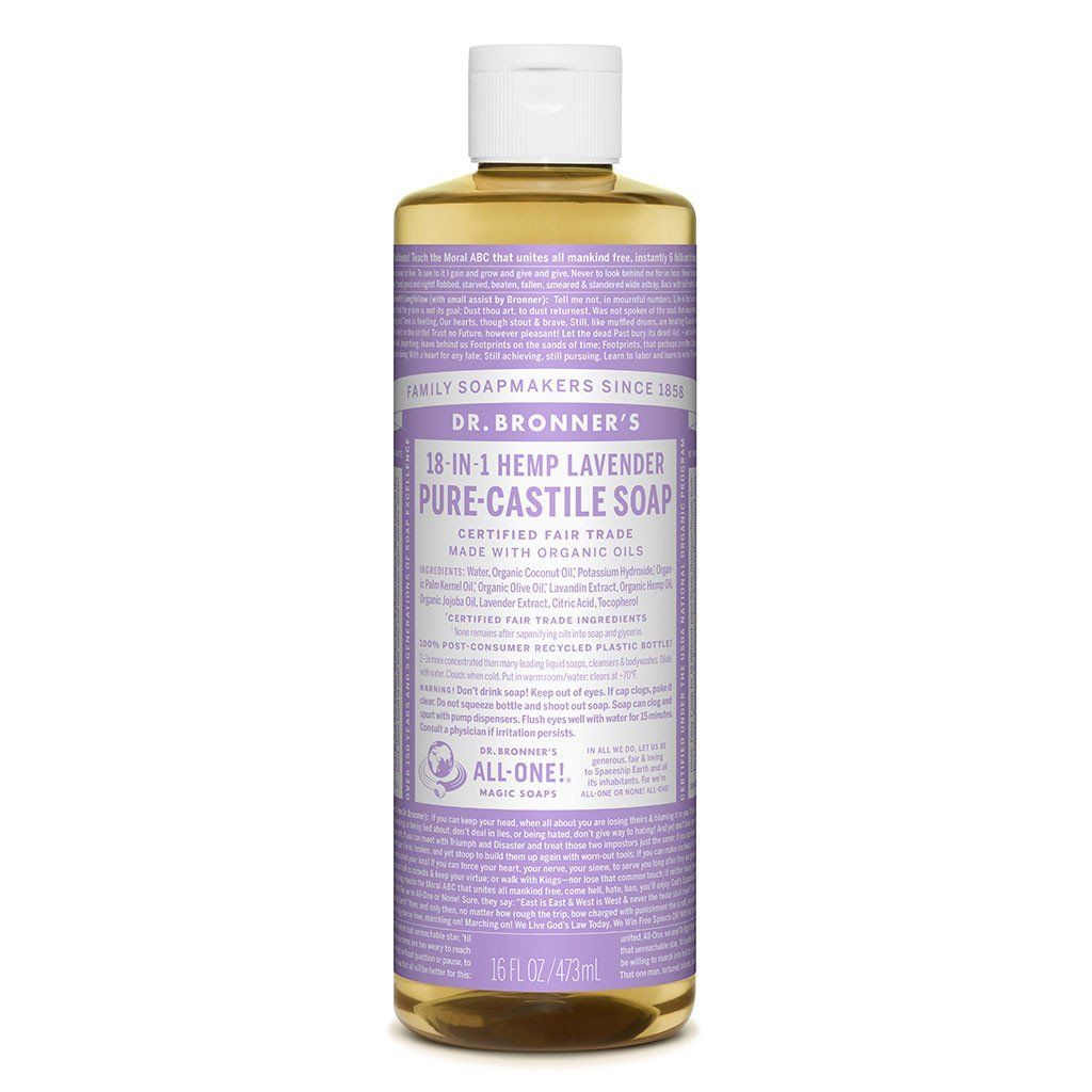 Dr Bronners Castille Soap Lavender Dr Bronners Bath and Body 473ml 16oz at Little Earth Nest Eco Shop