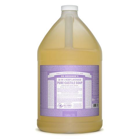 Dr Bronners Castille Soap Lavender Dr Bronners Bath and Body 3.78L 1 Gallon at Little Earth Nest Eco Shop