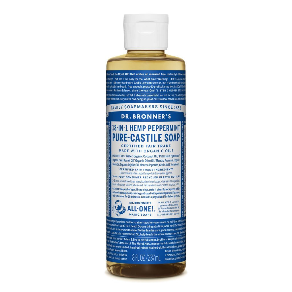 Dr Bronners Castille Soap Peppermint Dr Bronners Bath and Body 237ml 8oz at Little Earth Nest Eco Shop