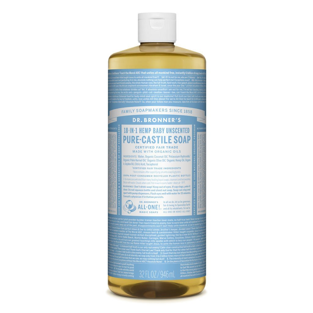 Dr Bronners Pure Castille Soap Baby Mild Dr Bronners Bath and Body 946ml 32oz at Little Earth Nest Eco Shop