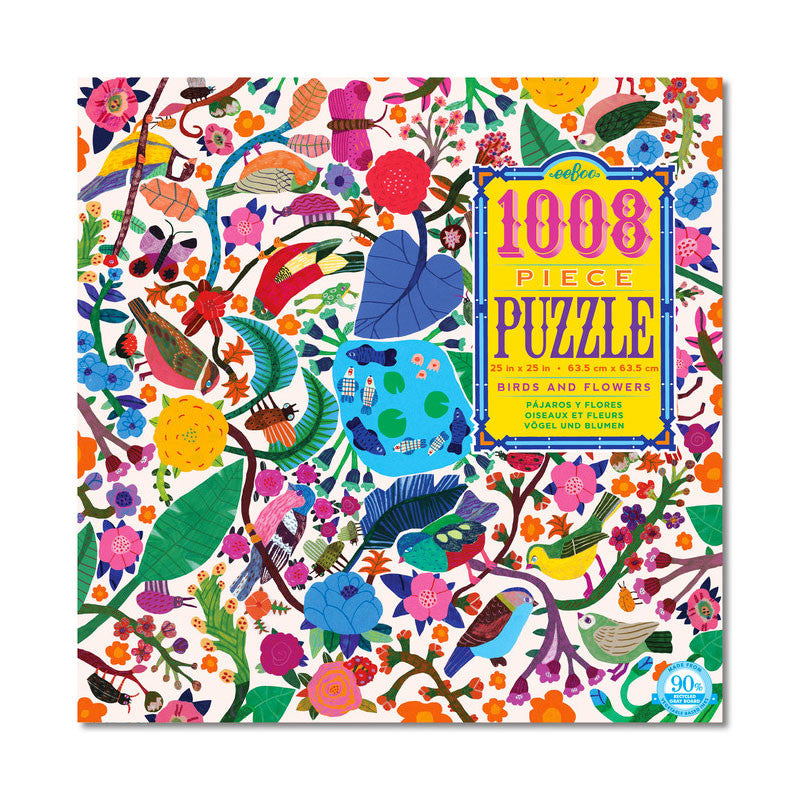 Birds And Flowers 1008 Piece Puzzle Eeboo Puzzles at Little Earth Nest Eco Shop