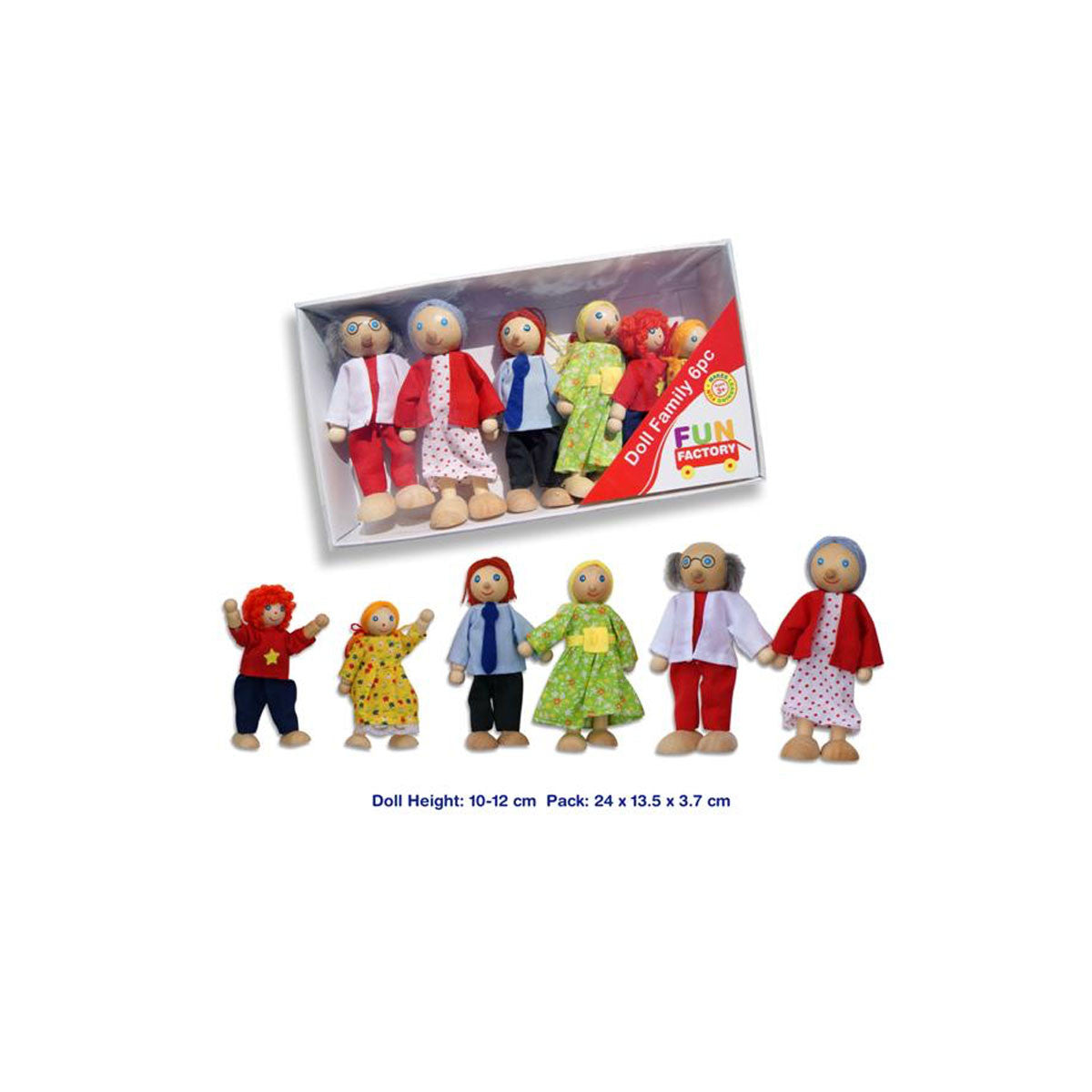 Fun Factory Wooden Doll Family Set Fun Factory Dolls, Playsets & Toy Figures at Little Earth Nest Eco Shop