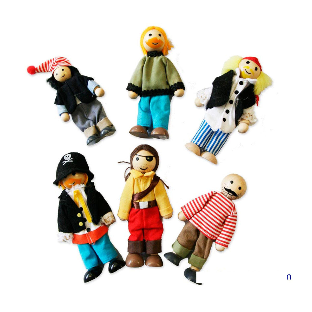 Wooden Pirate People - Set of 6 Fun Factory Dolls, Playsets & Toy Figures at Little Earth Nest Eco Shop