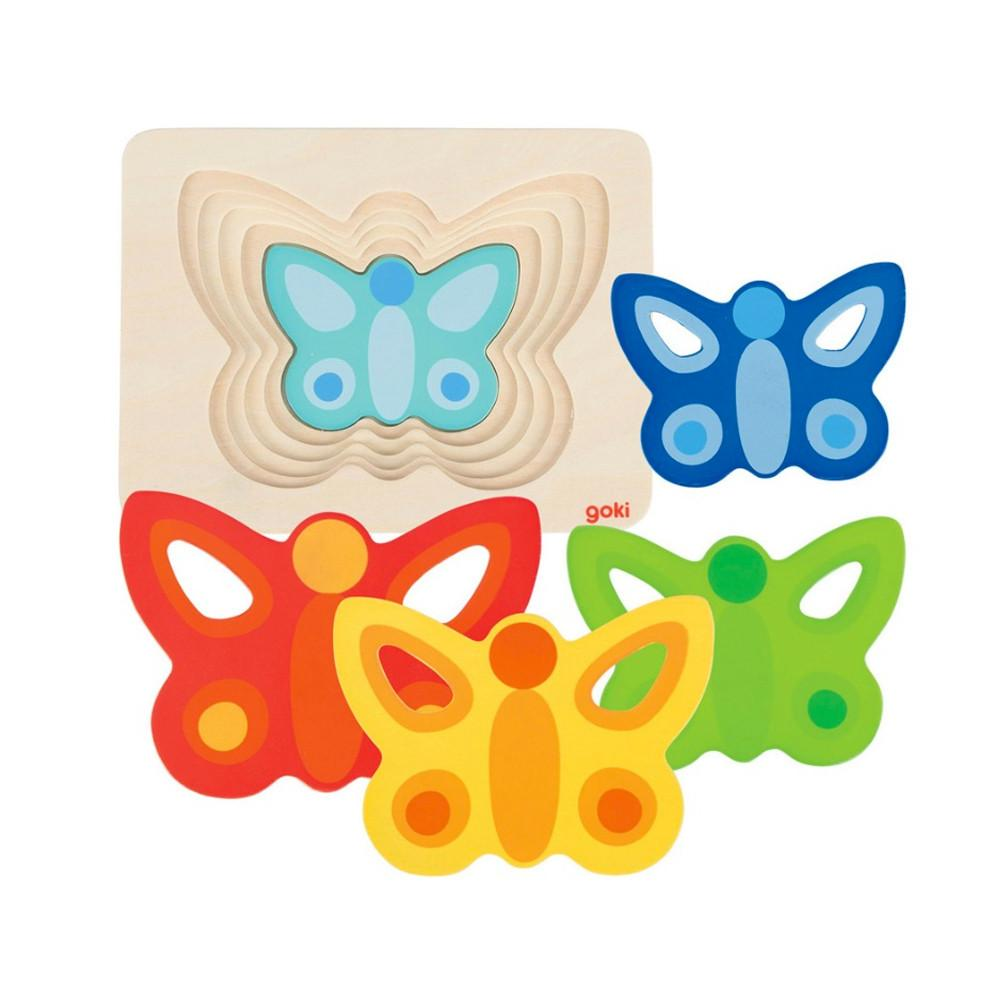 Goki 5 Layer Butterfly Puzzle Goki Puzzles at Little Earth Nest Eco Shop