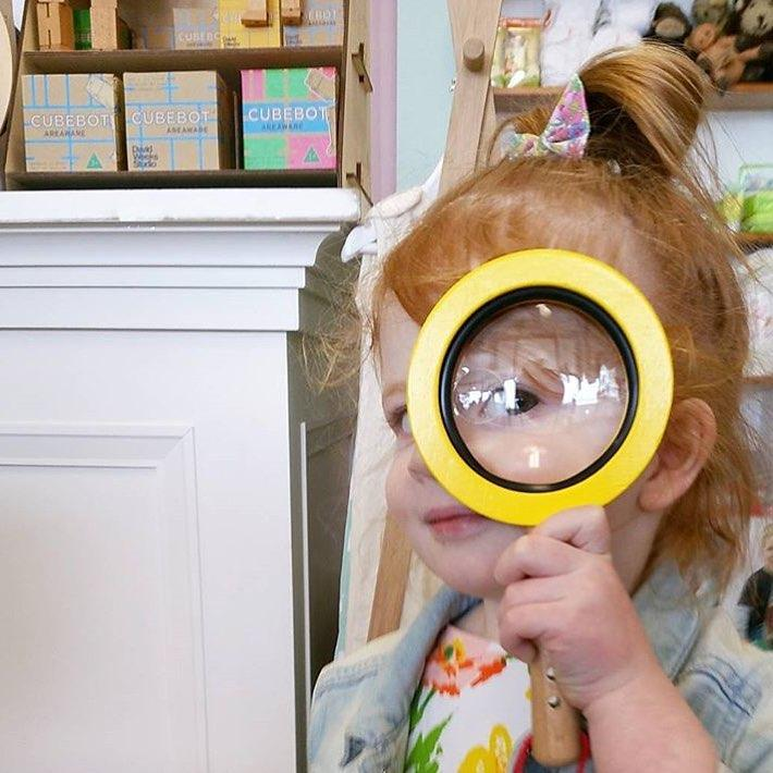 Goki Wooden Magnifying Glass with Snap-Hook Goki Activity Toys at Little Earth Nest Eco Shop