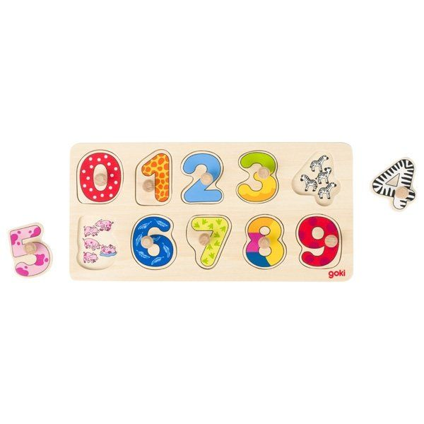 Goki Patterned Narrow Number Puzzle Goki Puzzles at Little Earth Nest Eco Shop