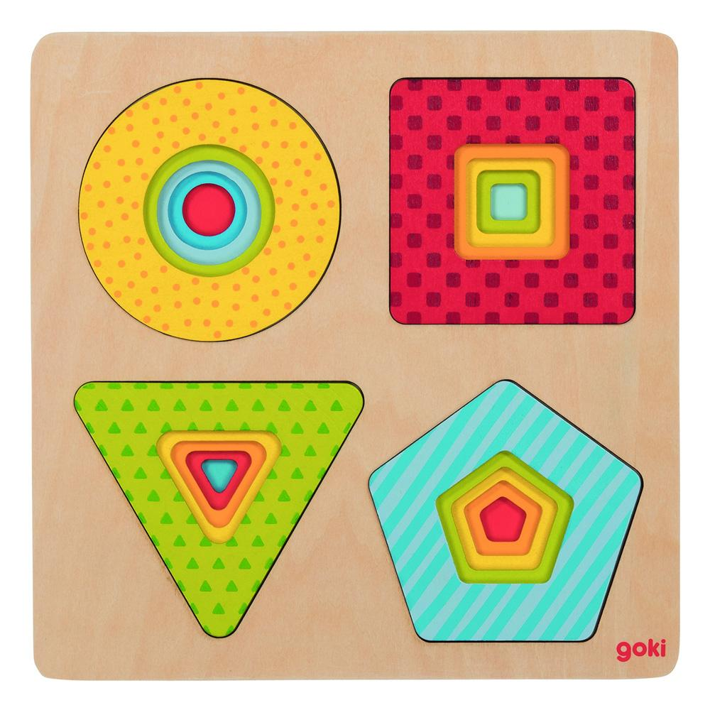 Goki Geometric Shapes Layer Puzzle Goki Puzzles at Little Earth Nest Eco Shop