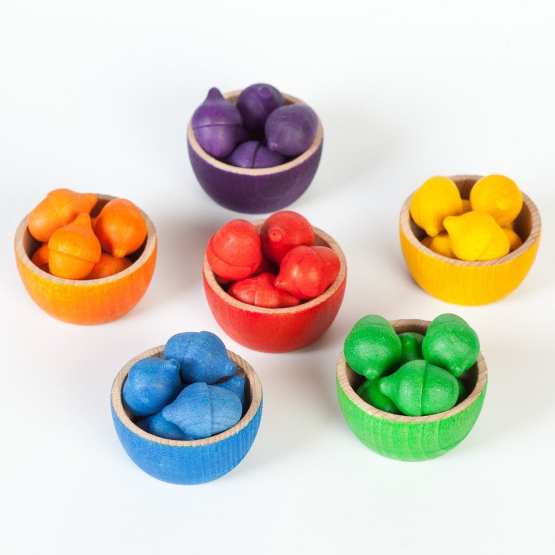 Grapat Colourful Wooden Bowls and Acorns Set of 6 Grapat Toys at Little Earth Nest Eco Shop