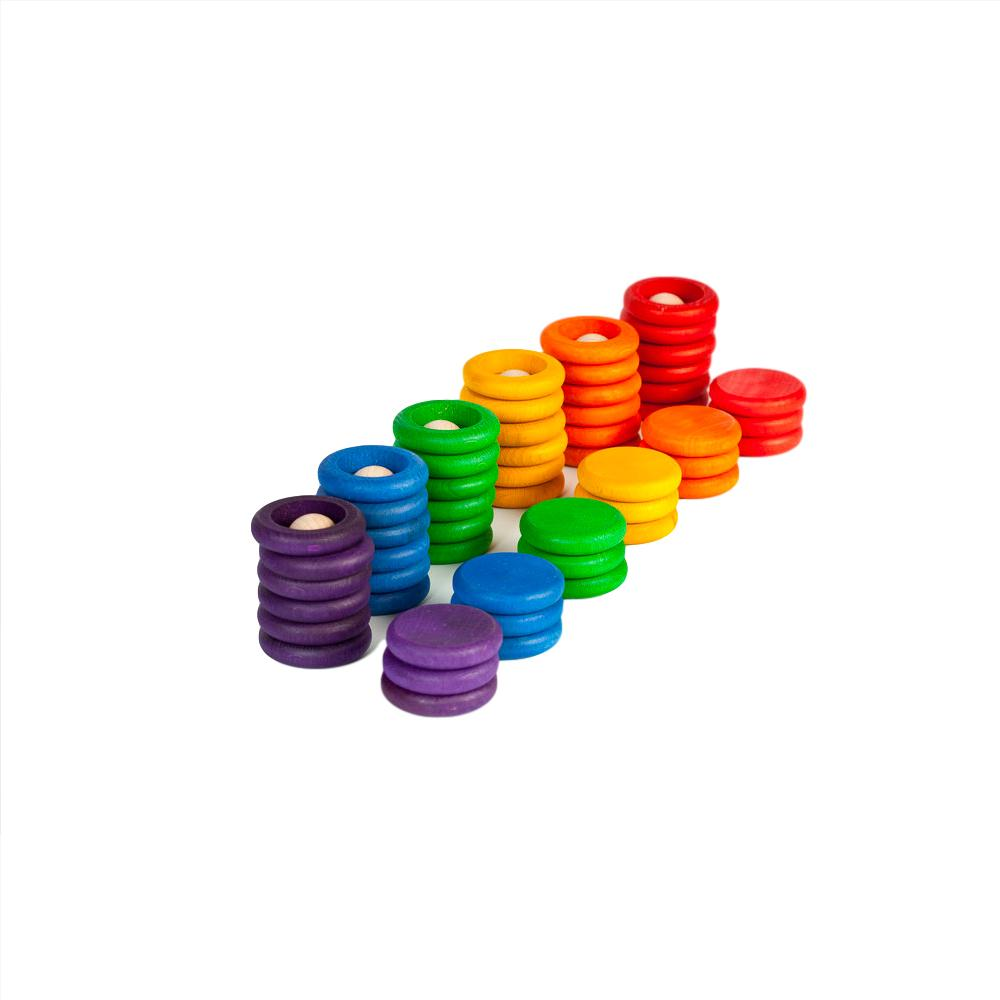 Grapat Rainbow Nins Rings and Coins Grapat Toys at Little Earth Nest Eco Shop