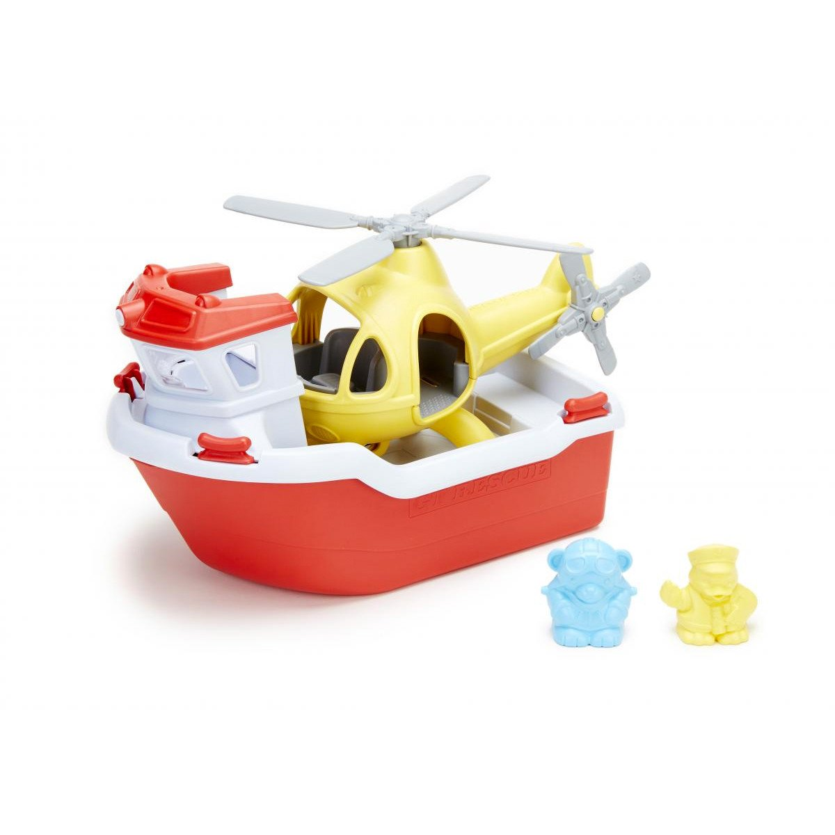 Green Toys Rescue Boat And Hellicopter Green Toys Bath Toys at Little Earth Nest Eco Shop
