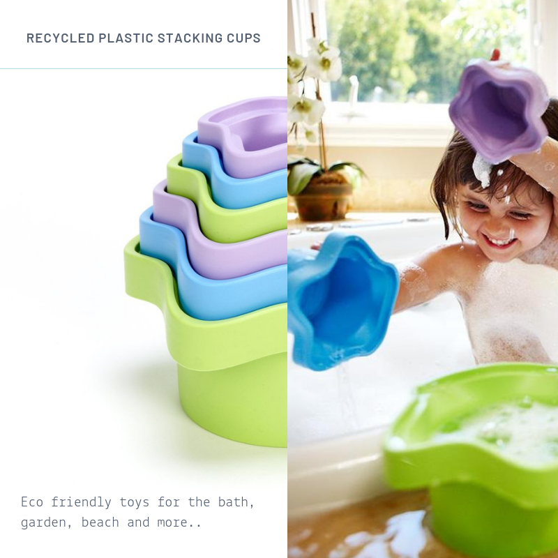 Green Toys Stacking Cups Green Toys Bath Toys at Little Earth Nest Eco Shop