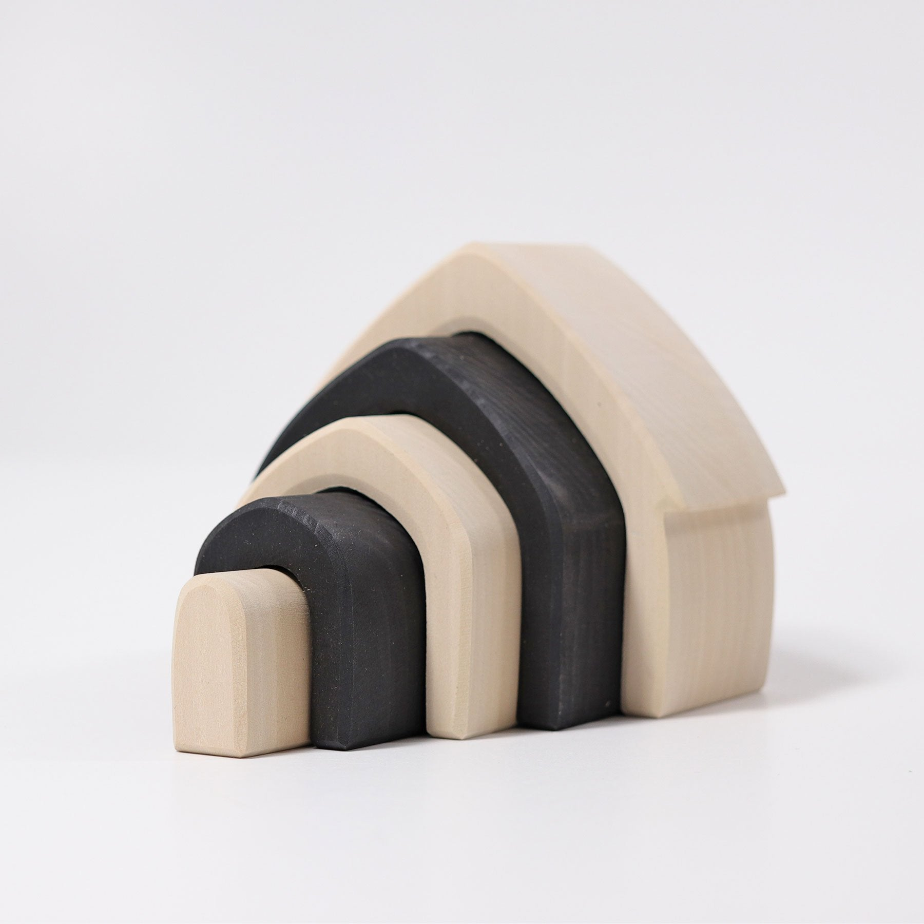 Grimms Monochrome Stacking House Grimms Wooden Toys at Little Earth Nest Eco Shop