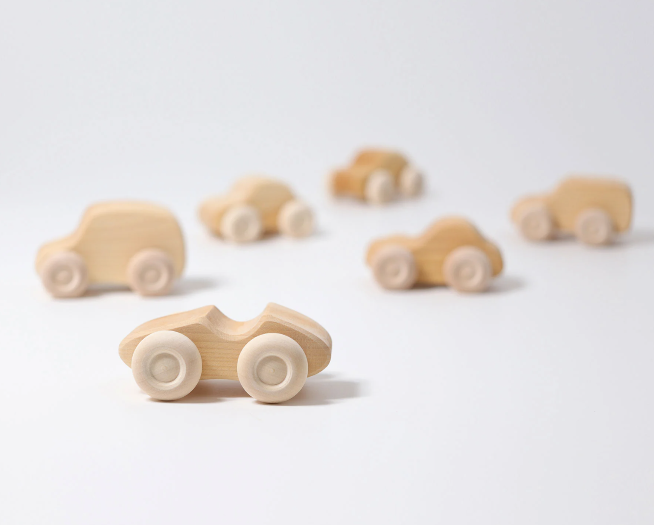 Grimms Natural Wooden Cars - Set of 6 Grimms Wooden Toys at Little Earth Nest Eco Shop