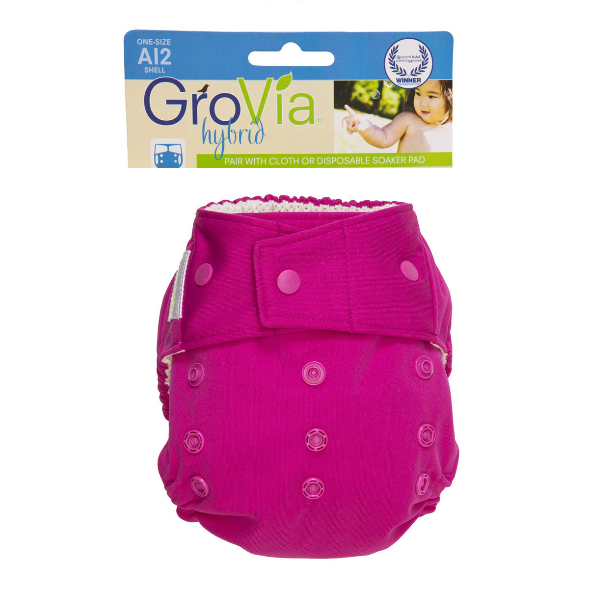 Grovia Hybrid Nappy Cover Single Shell  Lotus / Snaps - Grovia Australia - Little Earth Nest - 10