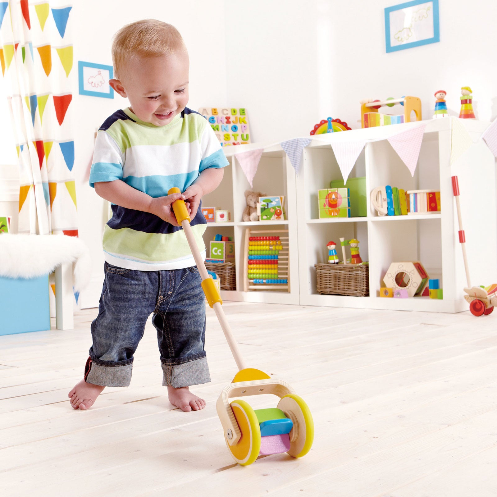 Hape Push Pal Hape Push and Pull Toys Rainbow at Little Earth Nest Eco Shop