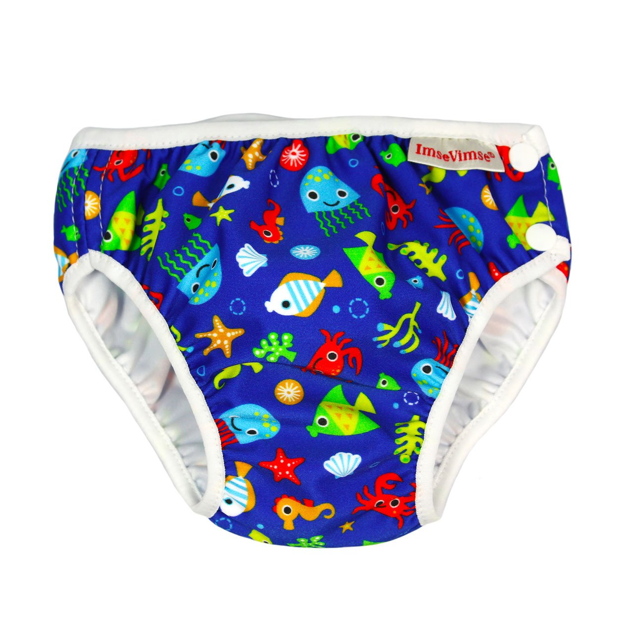 Imse Vimse Reusable Swim Nappies Imse Vimse Nappies Blue Sea Life / Newborn (4-6kg) at Little Earth Nest Eco Shop