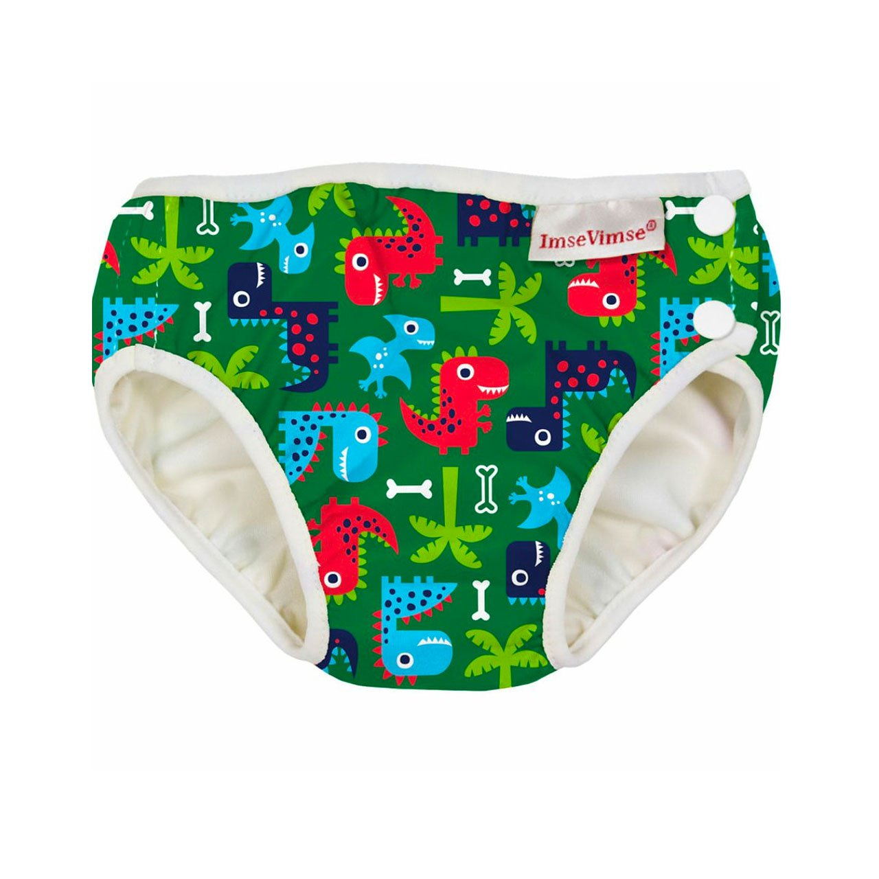 Imse Vimse Reusable Swim Nappies Imse Vimse Nappies Green Dino / Newborn (4-6kg) at Little Earth Nest Eco Shop