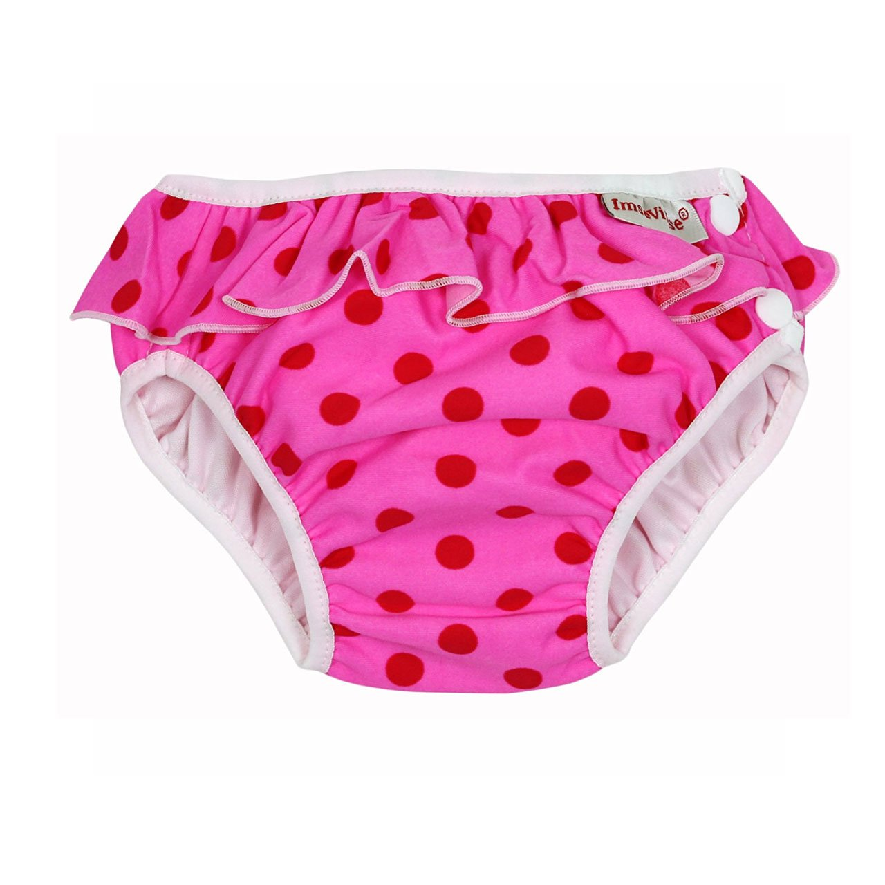 Imse Vimse Reusable Swim Nappies Imse Vimse Nappies Pink Dot with Frill / Newborn (4-6kg) at Little Earth Nest Eco Shop