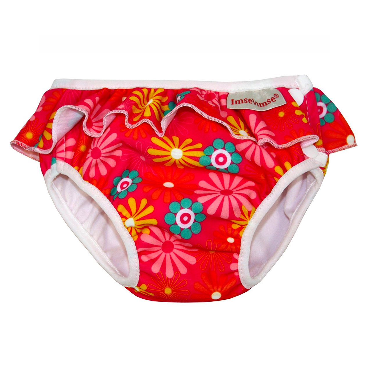 Imse Vimse Reusable Swim Nappies Imse Vimse Nappies Pink Daisy with Frill / Newborn (4-6kg) at Little Earth Nest Eco Shop