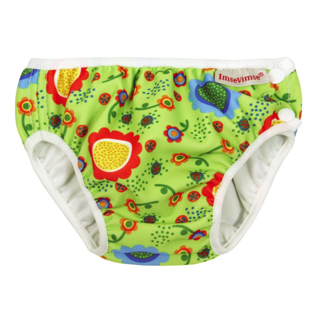 Imse Vimse Reusable Swim Nappies Imse Vimse Nappies Green Flower / Newborn (4-6kg) at Little Earth Nest Eco Shop