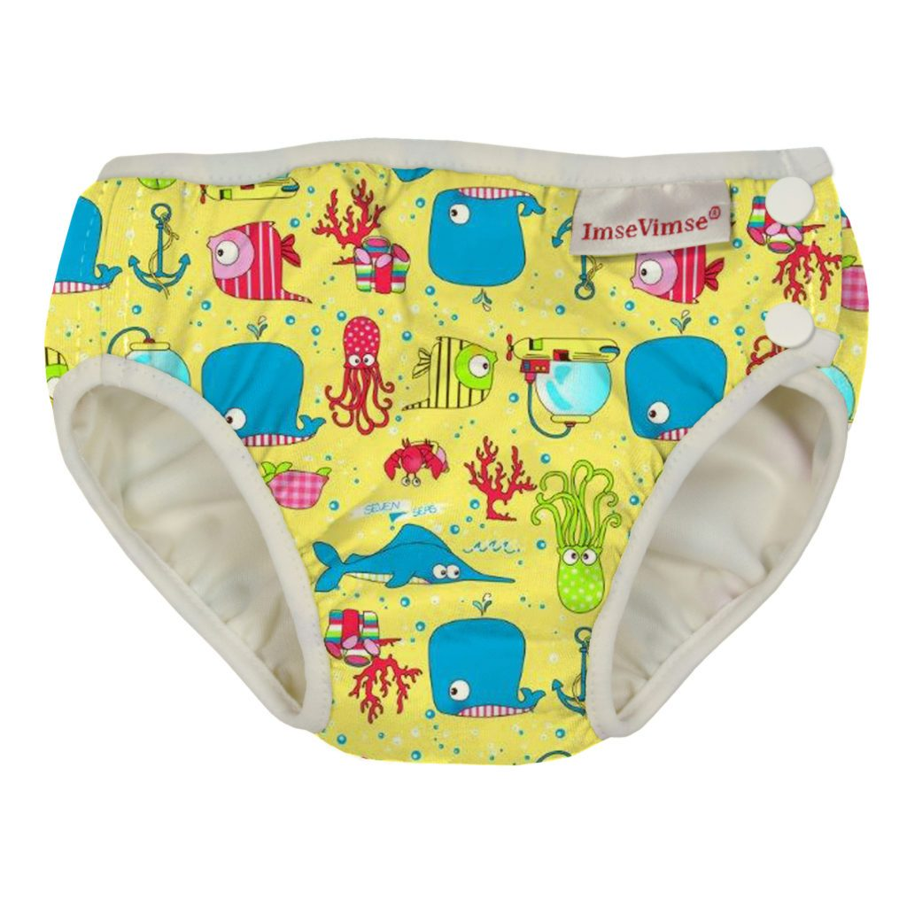 Imse Vimse Reusable Swim Nappies Imse Vimse Nappies Yellow Seven Seas / Newborn (4-6kg) at Little Earth Nest Eco Shop