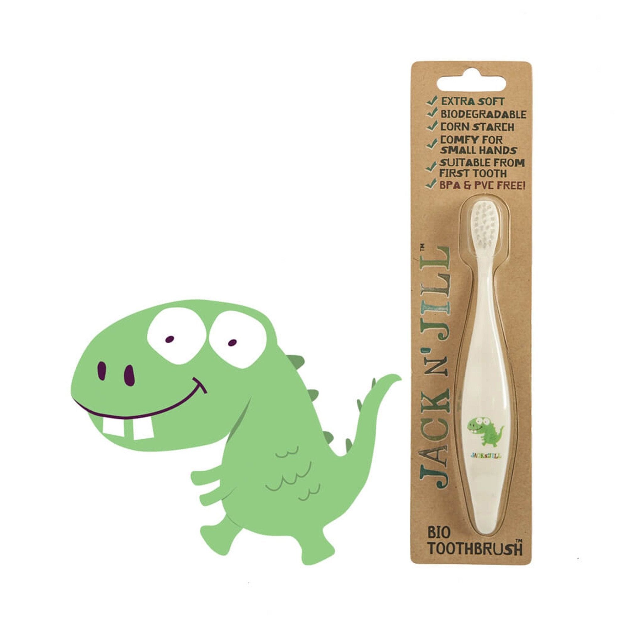 Jack and Jill Bio Toddler or Child Toothbrush Jack n Jill Toothbrushes Dinosaur at Little Earth Nest Eco Shop
