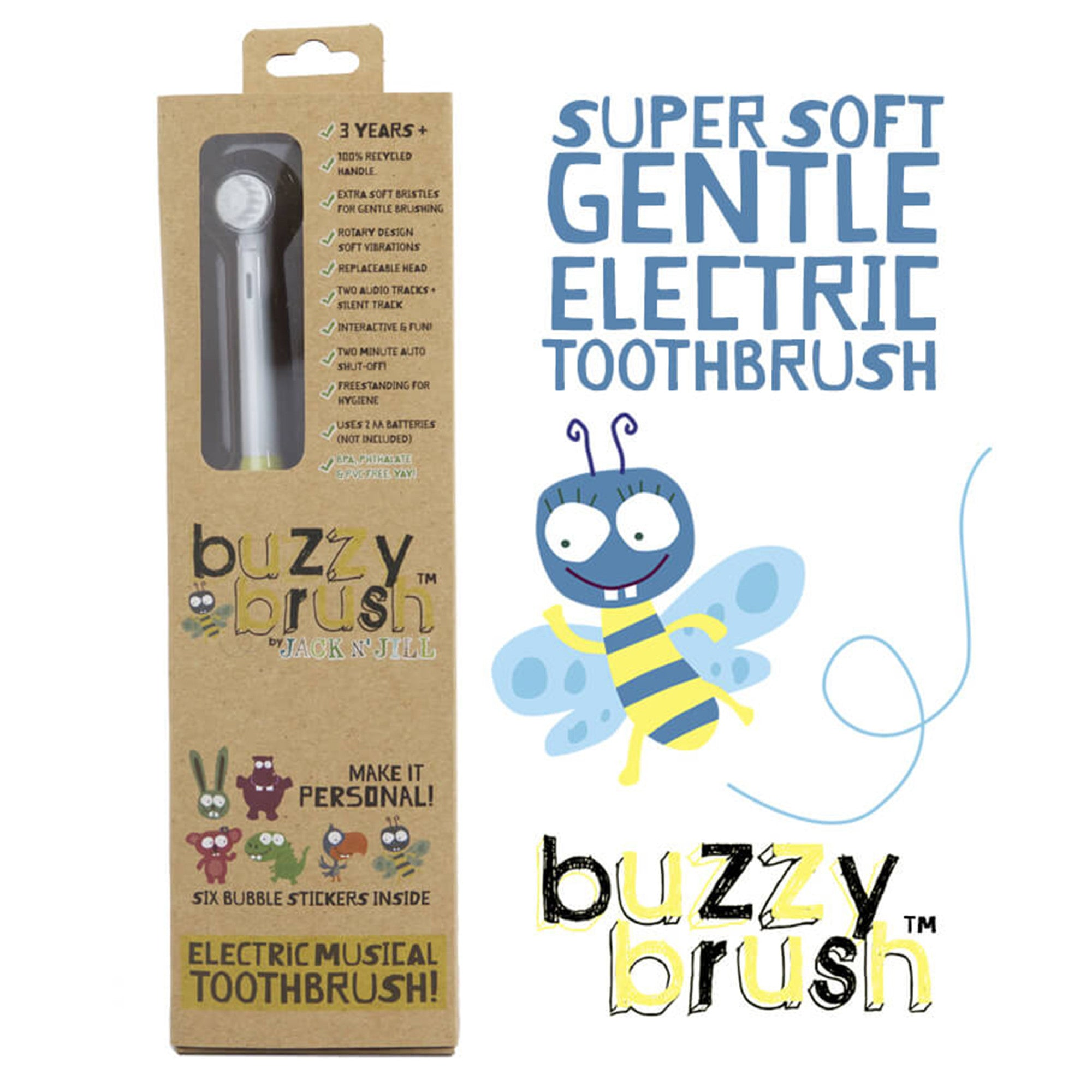 Jack and Jill Buzzy Brush Recycled Plastic Electric Toothbrush Jack n Jill Toothbrushes at Little Earth Nest Eco Shop