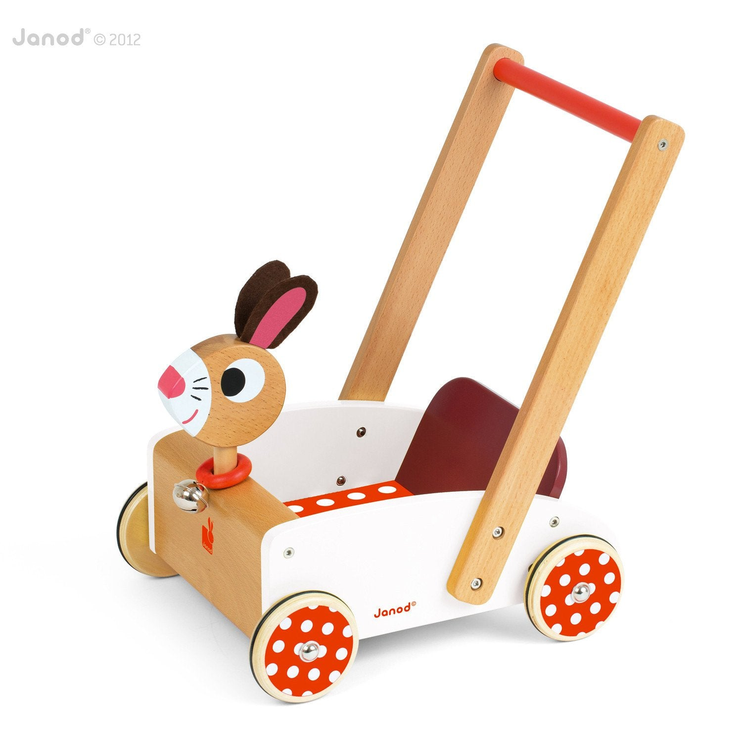 Janod Crazy Rabbit Cart Walker Janod Push and Pull Toys at Little Earth Nest Eco Shop