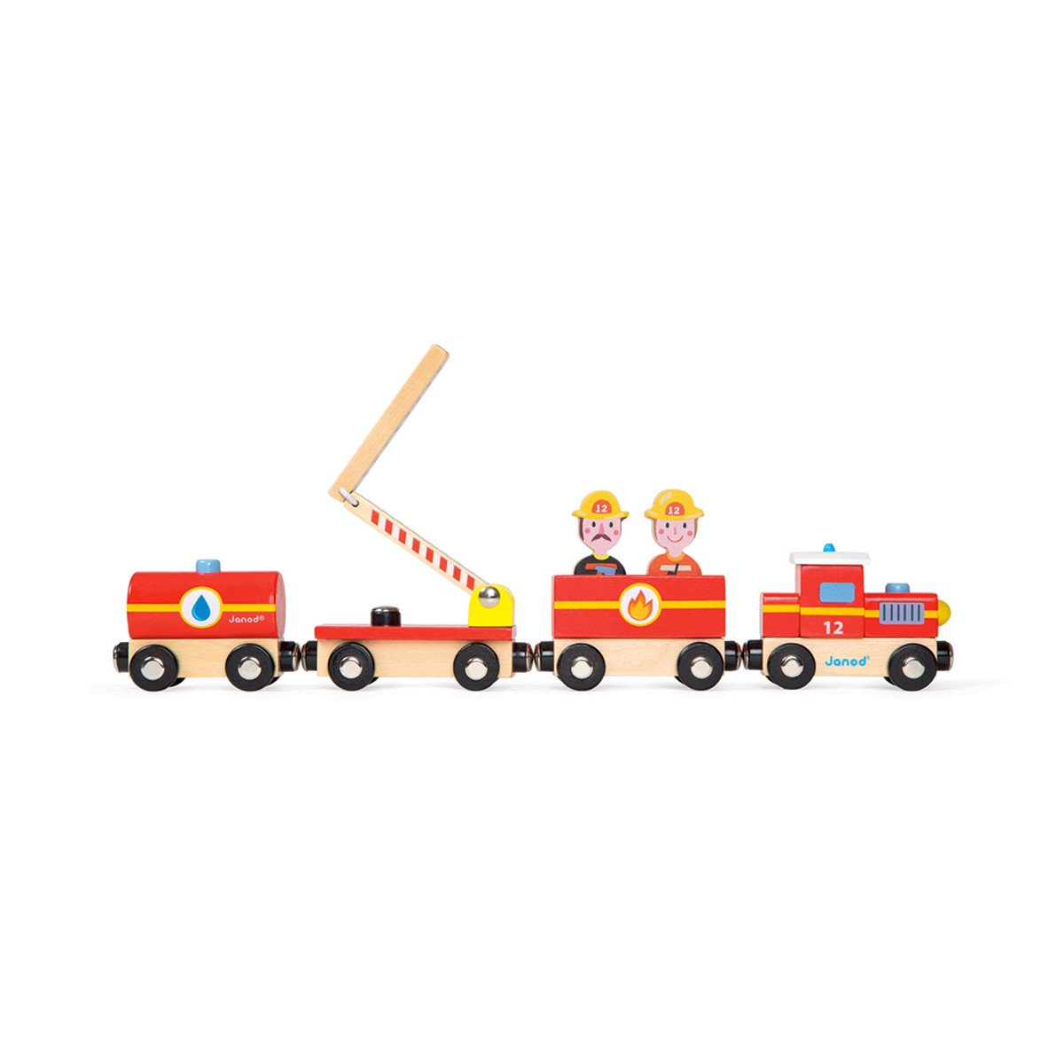 Janod Firefighter Train Janod Activity Toys at Little Earth Nest Eco Shop
