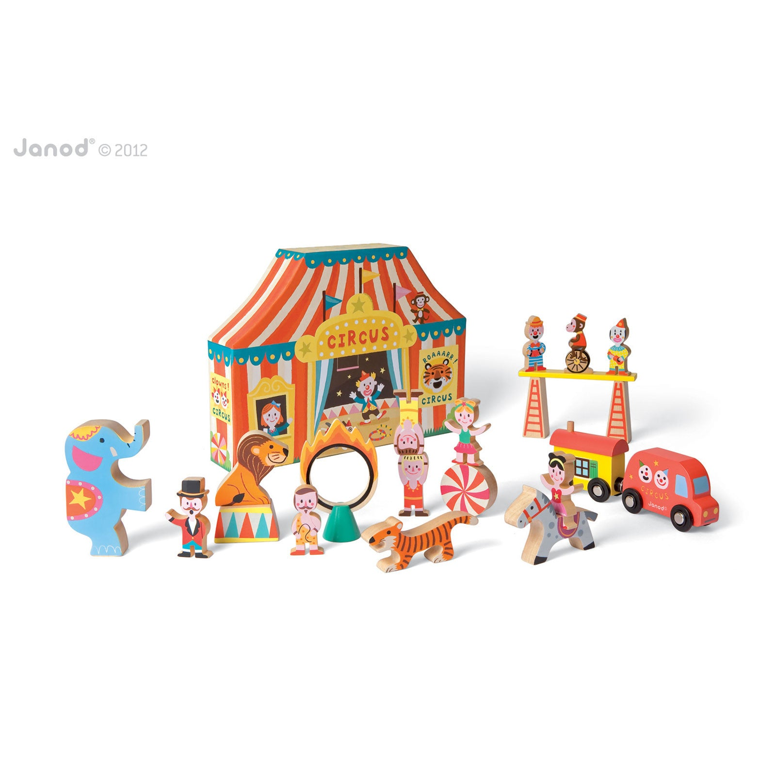 Janod Story Box Stacking Circus Janod Activity Toys at Little Earth Nest Eco Shop