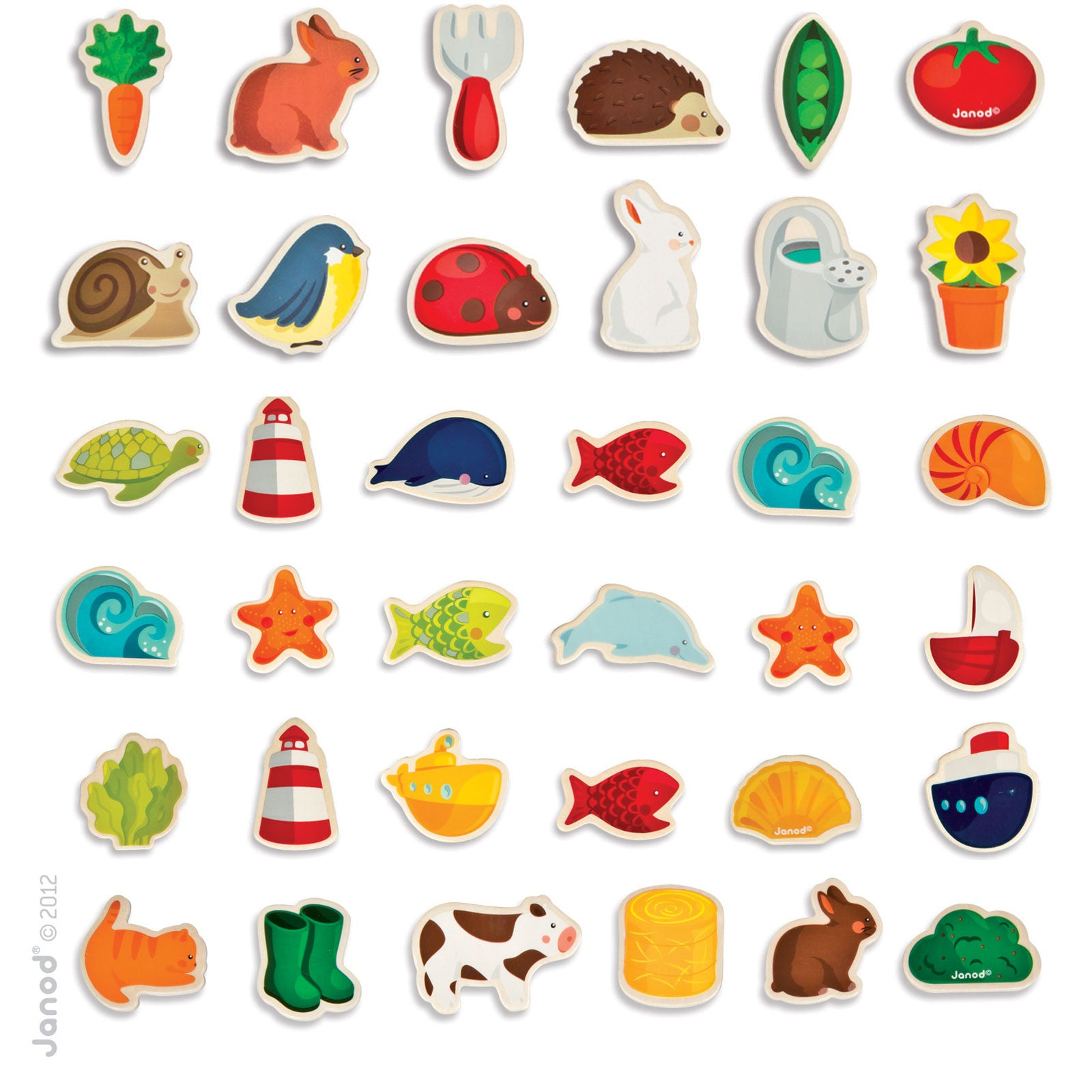 Janod Wooden Magnets - 24 Pcs Janod Magnet Toys at Little Earth Nest Eco Shop