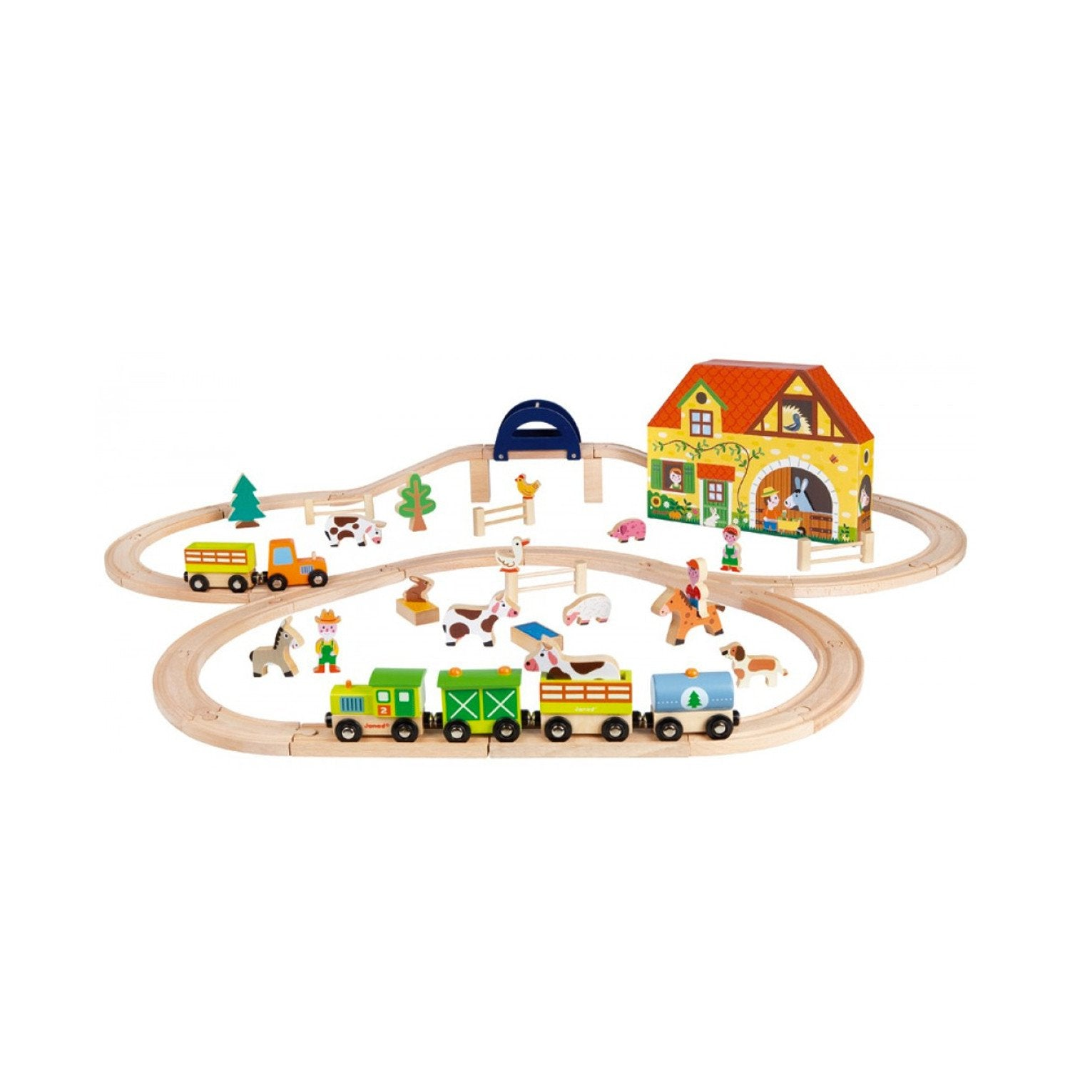 Janod Story Express Farm Train Set Janod Activity Toys at Little Earth Nest Eco Shop