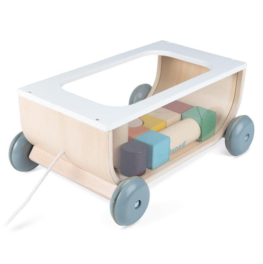 Janod Cocoon Cart with Blocks Janod Baby Activity Toys at Little Earth Nest Eco Shop